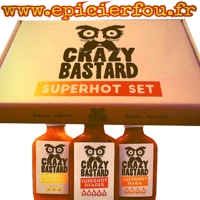 Coffret Crazy Bastard 3 SuperHot Sauces